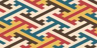 アウトドア風の紗綾形の無料ライン素材
