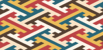 ビビットな色合いの紗綾形の罫線素材