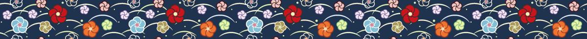 和風の罫線模様 ねじ梅と芝露模様の組み合わせライン素材